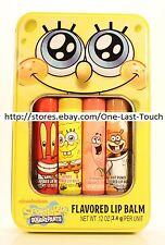 LOTTA LUV 5pc Lip Balm Set SPONGEBOB SQUAREPANTS TIN CASE Flavored APPLE+CHERRY+