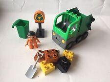 LEGO Duplo Set 4659 - Müllabfuhr grün - Müllauto - Staßenarbeit - komplett& TOP