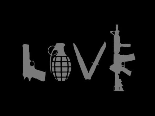 Love Weapons Guns Pistol Rifle Decal Vinyl Sticker Car Truck Window Wall Decor