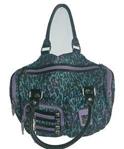 Betsey-Jonhson-Purple-and-Blue-Leopard-Cheetah-Bag-Purse-Satchel-Great-Condition