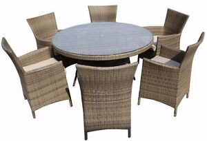 Image Is Loading 6 Seater Rattan Garden Furniture Dining Set Chairs