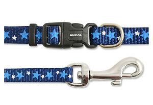Ancol Collar de Perro /& Plomo Set Estrellas//azul