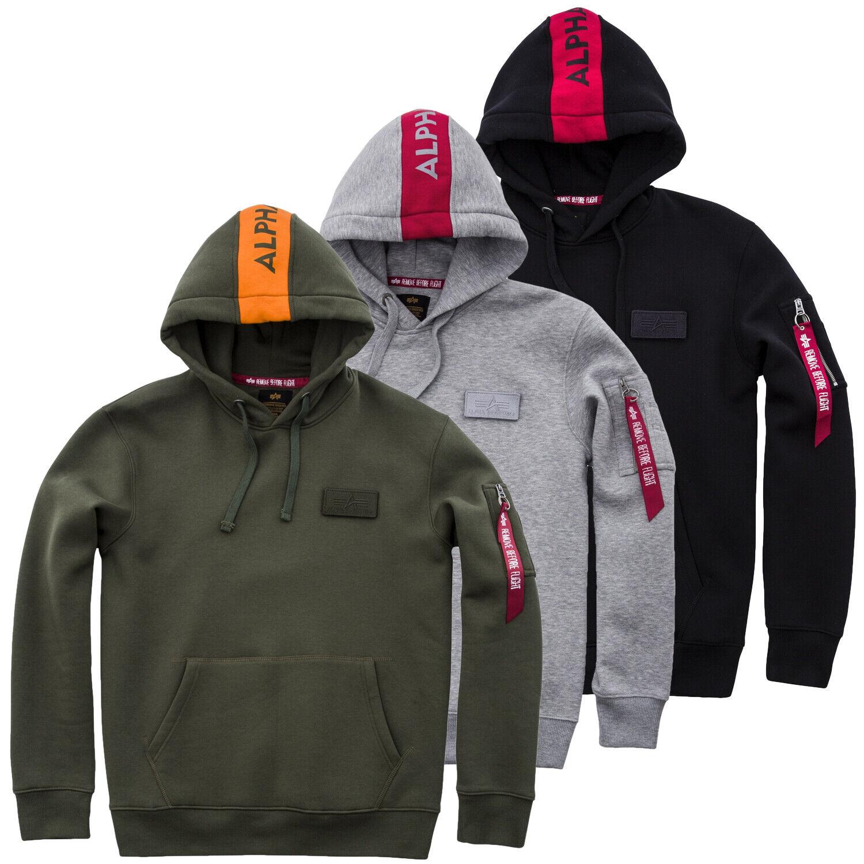 Alpha Industries Men's Hoodie Red Stripe Sweatshirt S M L XL XXL 3XL New