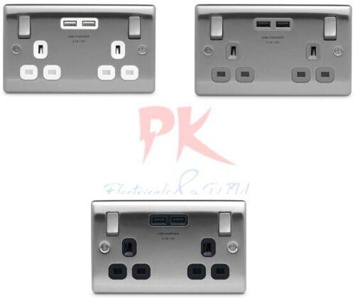BG Nexus en acier brossé Douilles /& Commutateurs USB//Noir//Gris//Blanc Inserts