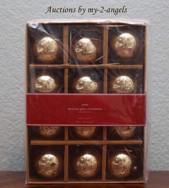 Pottery Barn Mini Mercury Glass red elf Set Of 6 Christmas Ornament NEW in box