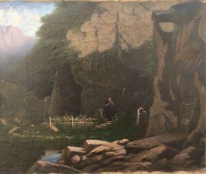Olgemaelde-19-Jahrhunder-Eremit-Einsiedler-vor-einer-Hoehle-Heilige-Staette-30x35