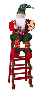 Large-Christmas-Animated-Moving-Elf-Elves-Figurines-On-Ladder-Decoration-Doll
