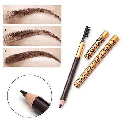 Waterproof Eye Brow Black Brown Eyebrow Pen Pencil With Brush Makeup Cosmetic