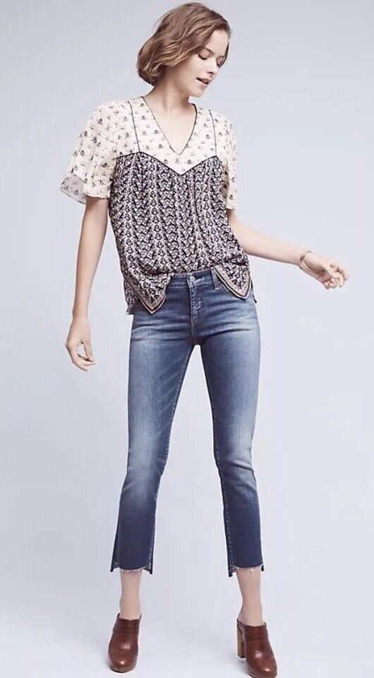 Pilcro And The Letterpress Anthropologie 32 High Rise Skinny Jeans Raw Step Hem