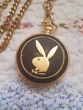 Franklin Mint Playboy Pocket Watch w/ Chain Bunny Black & Gold Fathers Gift HTF