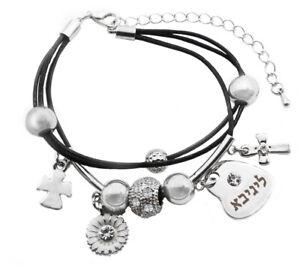 Alice Name Bracelet Swarovski Element 18k White Gold Plated Heart Charm Leather