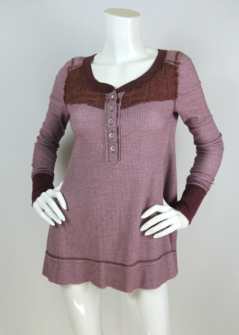Free People We the Free Sz S Thermal Top Waffle Knit Trapeze Henley Long Sleeve
