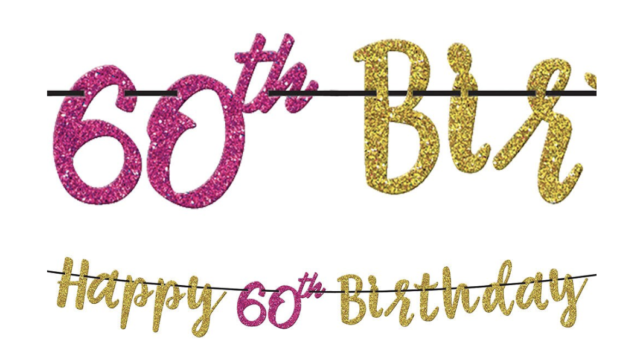 OVER THE HILL HOT PINK AND GOLD 60th BIRTHDAY GLITTER BANNER ~ Party Supplies