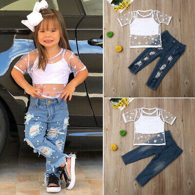 Fashion Toddler Baby Girl Vest Tops Denim Ripped Pants Clothes Outfits 3pcs Set Ebay
