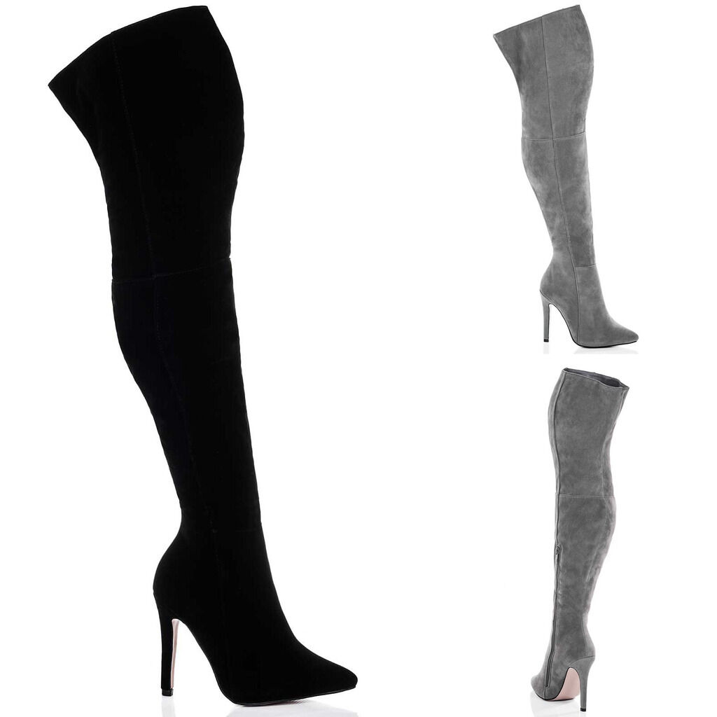 WOMENS HIGH HEEL STILETTO OVER KNEE TALL BOOTS SZ 3-8