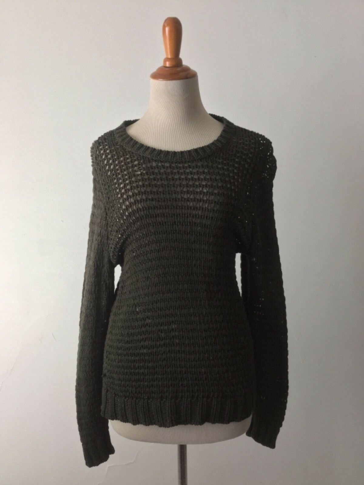 Eileen Fisher sweaters olive green fisherman Womens S organic cotton small