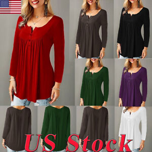 S-2XL-Women-V-neck-Button-Pleated-Long-sleeved-T-shirt-Casual-Loose-Top-Blouse