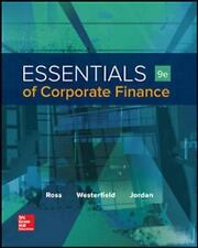 Essentials of Corporate Finance by Bradford D. Jordan, Stephen A. Ross and Randolph W. Westerfield (2016, Hardcover)