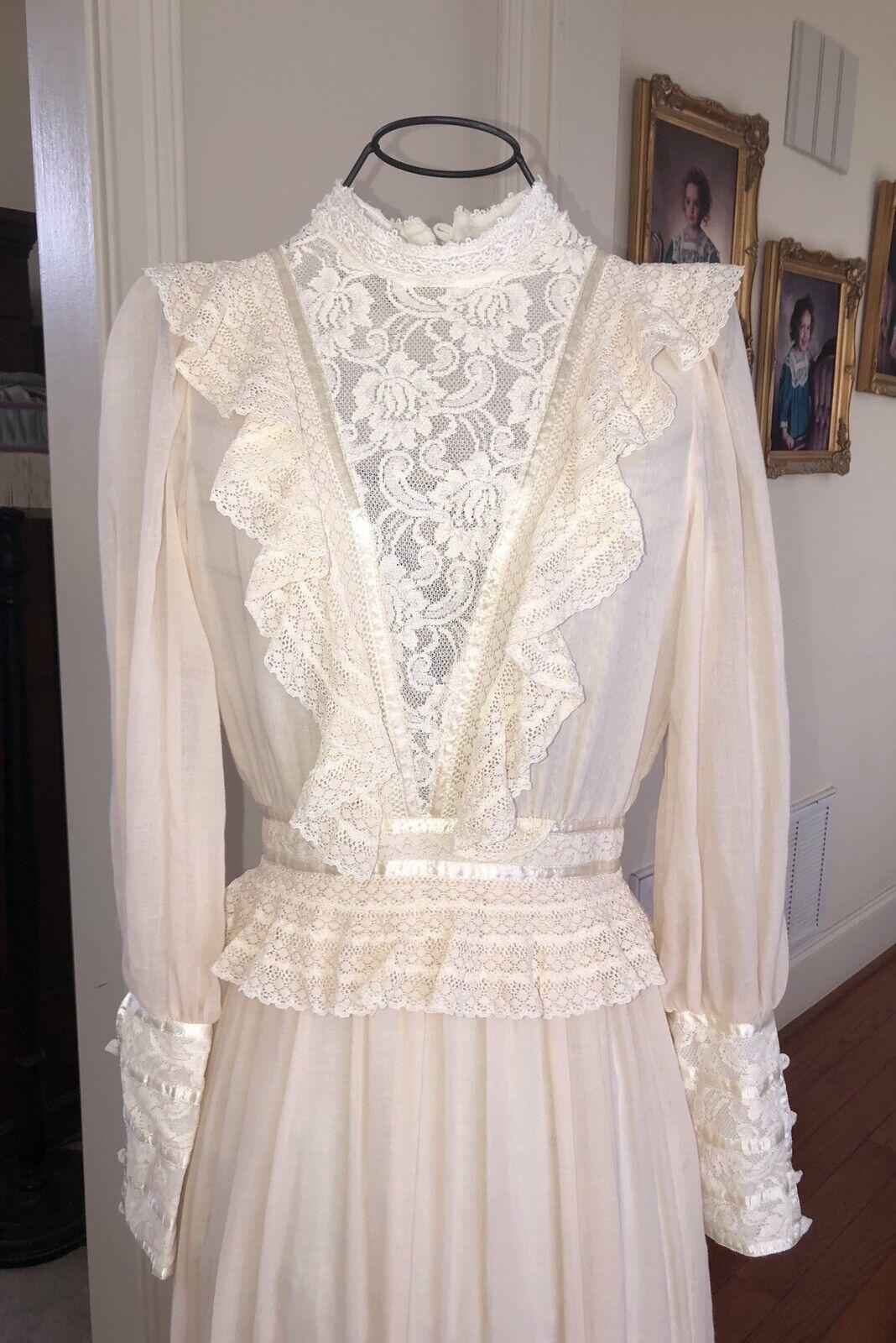 Vintage 70's Prairie Gunne Sax Maxi Dress, Cream … - image 8