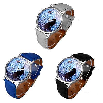 Women's Cat Pattern Watch Leather Band Analog Quartz Vogue Casual Wrist Watch
