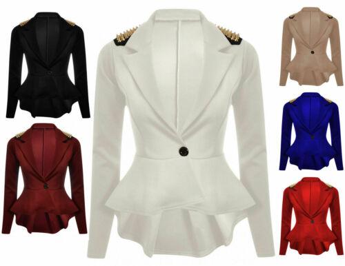 Ladies Women Spike Studded ONE button Frill Peplum blazer Coat Jacket TOP 8-26