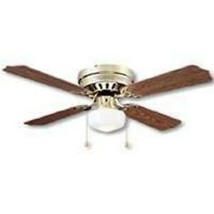"NEW MINTCRAFT 0430686 42"" BRASS OAK WALNUT 3SPD CEILING FAN WITH LIGHT"