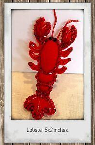 Lobster-Felt-Ornament-Hand-Sewn-Beaded-and-Sequined-Beach-Decor-Nautical-Theme