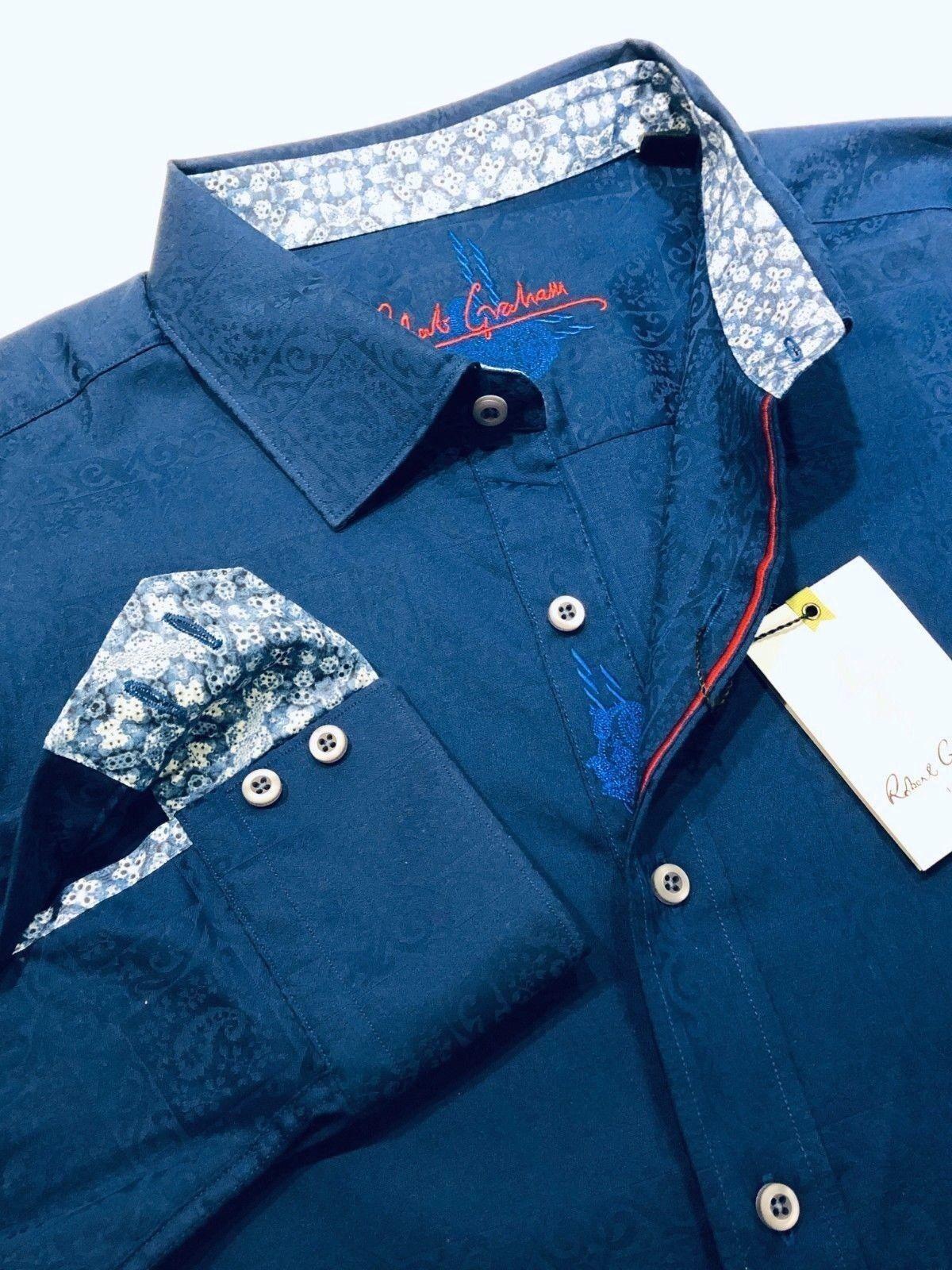 Robert Graham XL Shirt Mens Windsor Navy Geometric Paisley Long Sleeve New