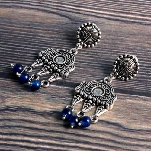 Oxidized Silver Plated Beaded Dangle and Drop Jhumki Earrings jewelry for women