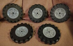 """KNEX WHEELS 4 Large 3.5/"""" 3 1//2/"""" Tires w//Gray Pulleys-Rims-Hubs Parts//Pieces Lot"""
