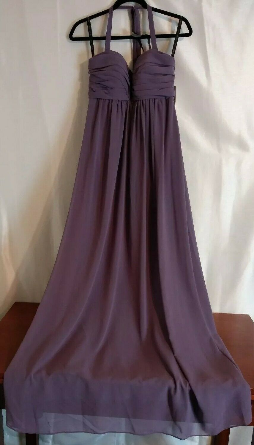 Bill Levkoff Long Formal Halter Dress Size 8 Empire Waist Lilac Purple Chiffon