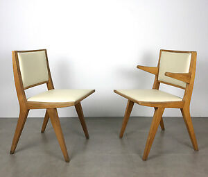 Pair-Vintage-Mid-Century-Modern-Wood-Chairs-By-Daystrom-1950-039-s-Jens-Risom-Style