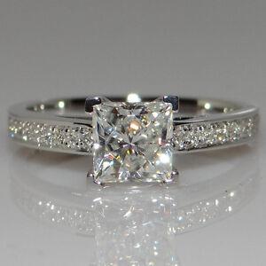 Fashion-Princess-Cut-1ct-Engagement-CZ-925-Silver-Women-Wedding-Band-Ring-Sz4-9