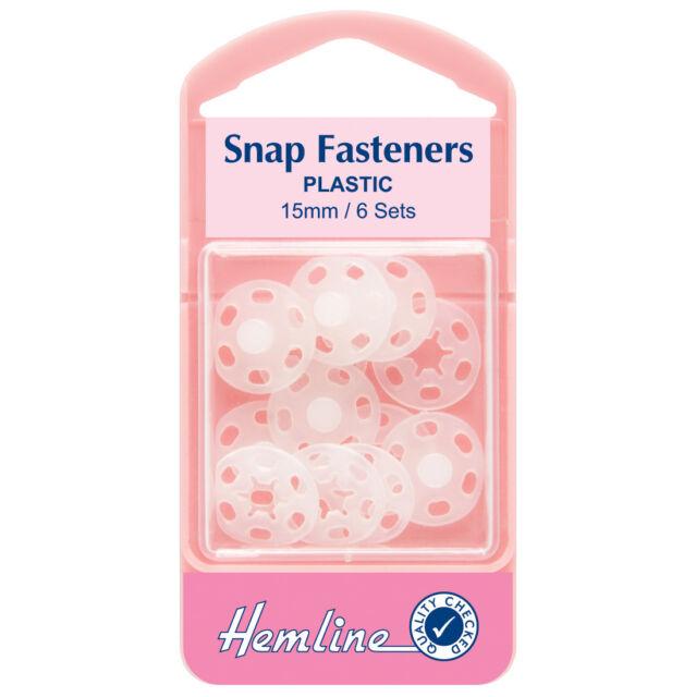 Hemline Sew On Snap Fasteners Nickel 15mm