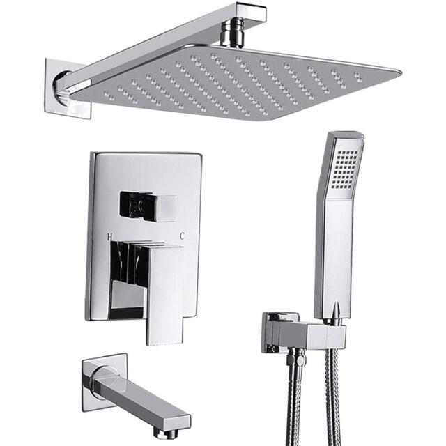 "Chrome 10/""Shower Faucet Set Rain Top Head Hand Sprayer Wall Mount Arm Tub Spout"