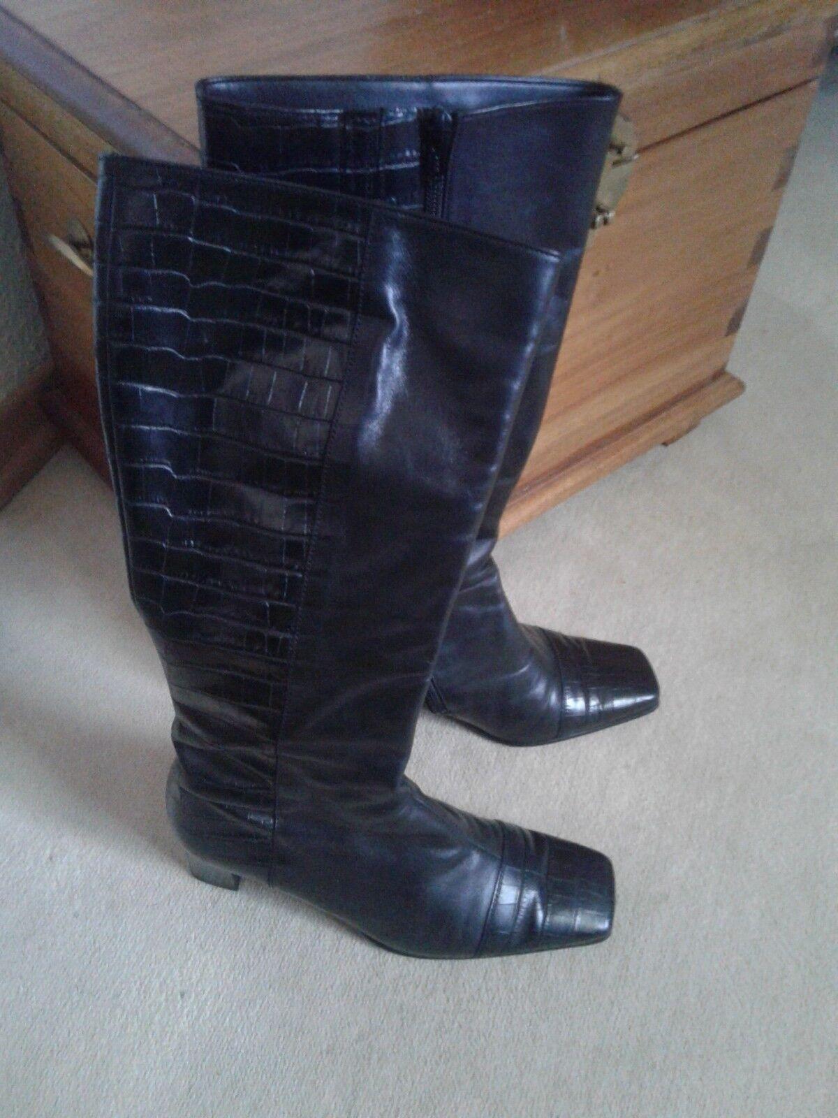 Gabor Stiefel stiefelette 4,5 schwarz 37,5 Neuwertig krokoprägung TOP