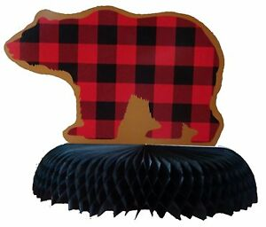 Buffalo Plaid Check Red Black Hunting Outdoor Theme Party Bear Centerpiece