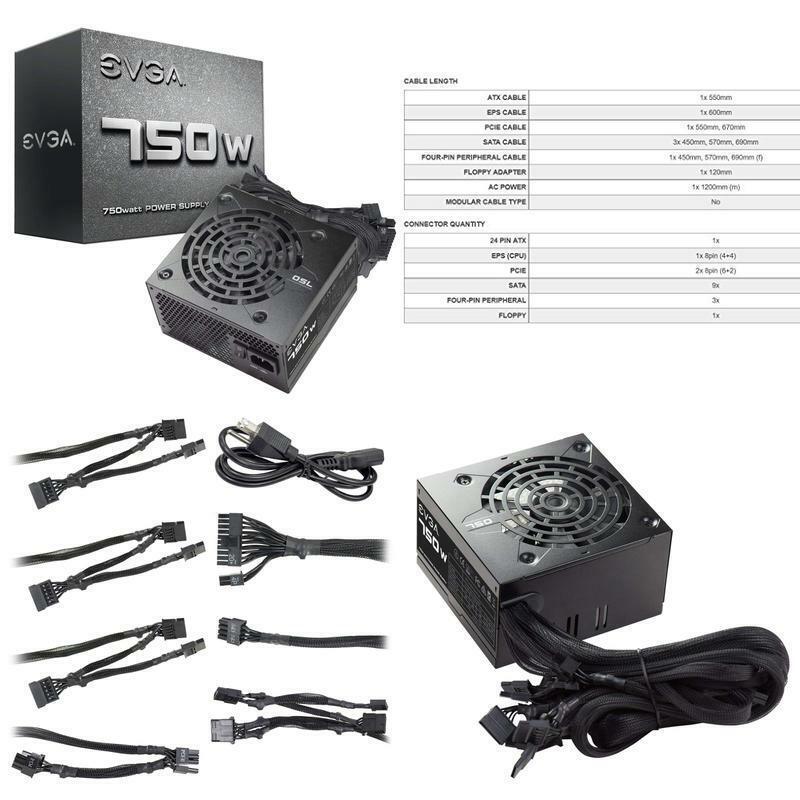 Evga 750 N1, 750W, 2 Year Warranty, Power Supply 100-N1