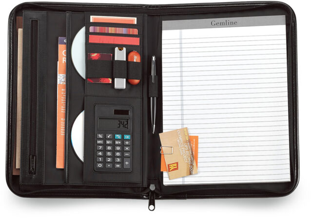 Gemline Vanguard Executive Black Leather Zippered Calculator Padfolio - New