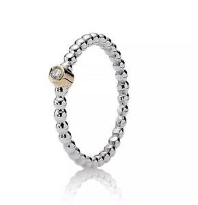 004a1f809 Genuine Pandora Two Tone Silver&14k Gold Diamond Evening Star Ring ...