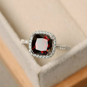 14K-White-Gold-Diamond-Rings-2-70-Ct-Cushion-Garnet-Gemstone-Ring-Size-L-M-N-86