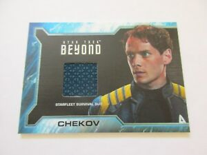 2017-Star-Trek-Beyond-Movie-Trading-Cards-Chekov-Costume-Relic-Card-SR8-Pattern