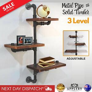 Rustic Industrial DIY Floating Pipe Shelf 3 Tier Adjustable Shelving Wall Decor
