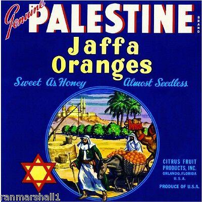 Orlando Florida Palestine Hebrew Orange Citrus Fruit Crate Label Art Print
