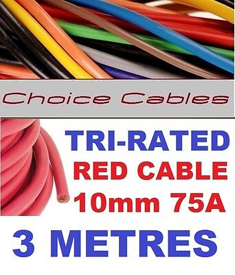 TRI RATED CABLE 10mm 75 AMP 1 METRE RED CAR BOAT LOOM WIRE BS6231 PANEL WIRE 1m