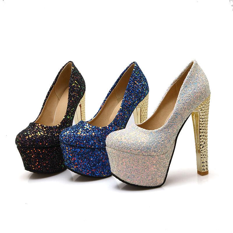 Women's High Block Heels Round Toe Platform Sequins Shoes Pumps Party Pumps Shoes US Size 59af39