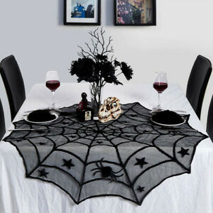 Scary-Halloween-Dentelle-Table-Tissu-Couverture-Porte-Fenetre-Rideau-Decor-PS