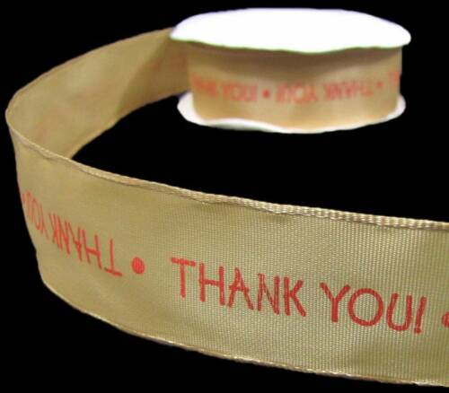 """5 Yards Thank you Gold Wired Ribbon 1 1//2/""""W"""