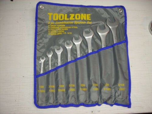 1//8 through 1//2W New Whitworth Combination-End Wrench Set 7-piece
