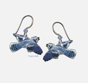Kiste Sparen Sie 50-70% Einfach Bamboo Jewelry Blau Jay Cloisonne Ohrringe Sterlingsilber Vogel Lang Ohrschmuck
